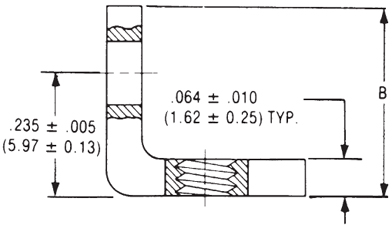 90º Angle Mounting Bracket Dimensions