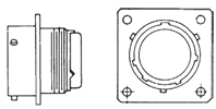 MS3472 Wide Flange Receptacle Front/Side