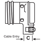 90º Receptacle, Pin Contacts with Cable Clamp