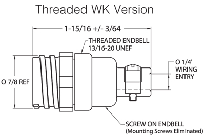 Threaded WK Version Dimensions