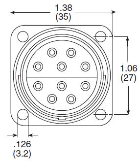 8-10 Circuit Flanged Plug Dimensions