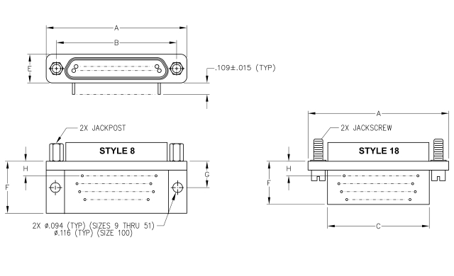 Ulti-Mate Micro-D Circuit Style 8, 18 Dimensions