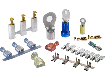 Spade terminals, FASTON terminals, ring terminals, crimp/solder splices, and more.