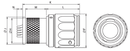 In Line Latching Receptacle With Integral Backshell