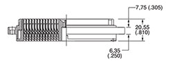 DL/DLM1-156 Receptacle Side View Crimp