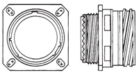 D38999/20 KJB0T Flanged Receptacle Front/Side view