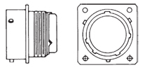 M3470 Narrow Flange Receptacle Front/Side