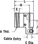 K-24C 90º Angle Receptacle Dimensions