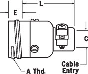 K-22C Straight Receptacle Dimensions